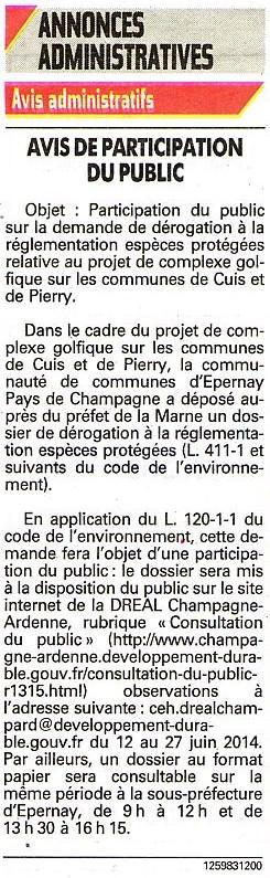 annonce administrative participation public  13.03.2014