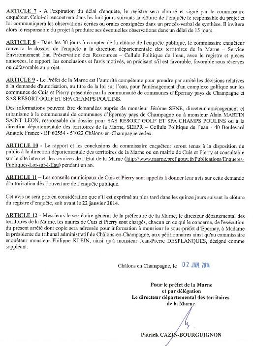 arrêté préfectoral 3 étude sur l'eau CUIS