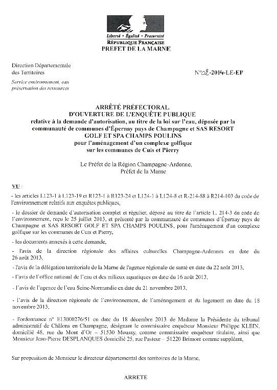 arrêté préfectoral1 étude sur l'eau CUIS