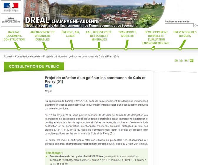 DREAL consultation du public 14.06.2014